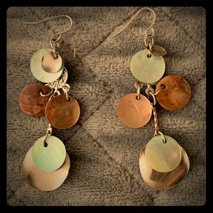 Long shell and disc earrings